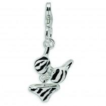 CZ Enamel Zebra Bikini Pendant in Sterling Silver