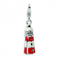 Enamel Swarovski Crys Lighthouse Lobster Clasp Charm in Sterling Silver