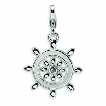 Enamel Swarovski Crystal Ship Wheel Lobster Charm in Sterling Silver