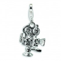 Movie Camera Lobster Clasp Charm in Sterling Silver