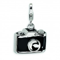 Enamel Swarovski Crystal Camera Lobster Clasp Charm in Sterling Silver