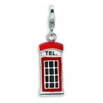 Red Telephone Booth Lobster Clasp Charm in Sterling Silver