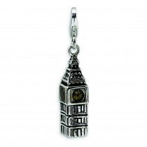 Antiqued Big Ben Lobster Clasp Charm in Sterling Silver
