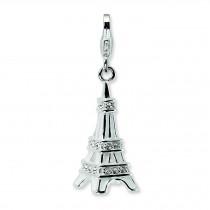 Enamel Swarovski Crystal Eiffel Tower Lobster Charm in Sterling Silver