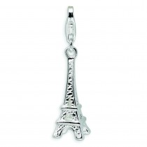 Eiffel Tower Lobster Clasp Charm in Sterling Silver