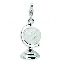 Cracked Crystal Globe Lobster Clasp Charm in Sterling Silver