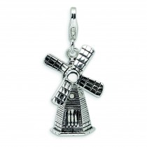 Windmill Lobster Clasp Charm in Sterling Silver