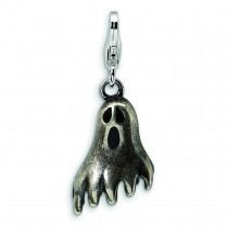 Antiqued Ghost Lobster Clasp Charm in Sterling Silver