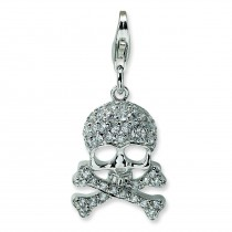 CZ Skull Cross Bones Lobster Clasp Charm in Sterling Silver