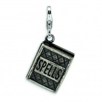Antiqued Spells Book Lobster Clasp Charm in Sterling Silver