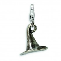Antiqued Witches Hat Lobster Clasp Charm in Sterling Silver
