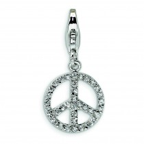 Small CZ Peace Sign Lobster Clasp Charm in Sterling Silver