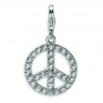 Large CZ Peace Sign Lobster Clasp Charm in Sterling Silver