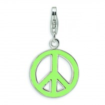 Green Peace Symbol Lobster Clasp Charm in Sterling Silver