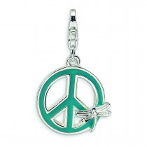 Enamel Peace Sign Dragonfly Lobster Clasp Charm in Sterling Silver