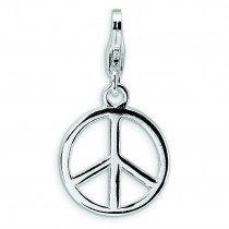 Small Peace Sign Lobster Clasp Charm in Sterling Silver
