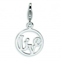 Live In Circle Lobster Clasp Charm in Sterling Silver