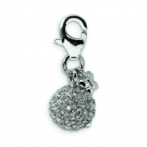 CZ Crystal Ball Lobster Clasp Charm in Sterling Silver