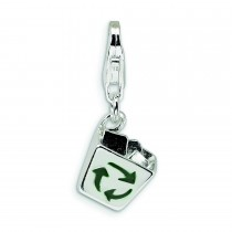 Enamel Recycle Bin Lobster Clasp Charm in Sterling Silver