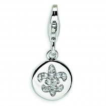 CZ Fleur De Lis Ornament Lobster Clasp Charm in Sterling Silver