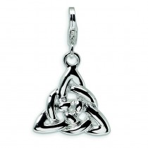 Trinity Knot Lobster Clasp Charm in Sterling Silver