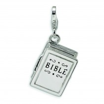 Bible Lobster Clasp Charm in Sterling Silver