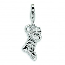 Christmas Stocking Lobster Clasp Charm in Sterling Silver