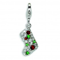 Multicolor CZ Stocking Lobster Clasp Charm in Sterling Silver