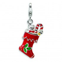 Red Holiday Stocking Lobster Clasp Charm in Sterling Silver