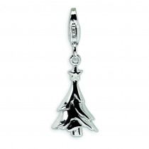 Christmas Tree Lobster Clasp Charm in Sterling Silver
