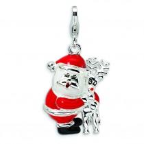 Santa Reindeer Lobster Clasp Charm in Sterling Silver