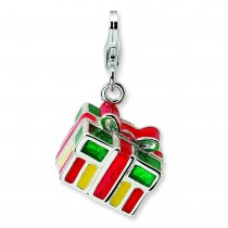 Gift Box Lobster Clasp Charm in Sterling Silver