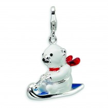 Polar Bear On Sled Lobster Clasp Charm in Sterling Silver