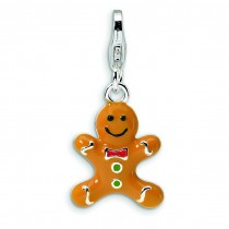 Gingerbread Cookie Lobster Clasp Charm in Sterling Silver