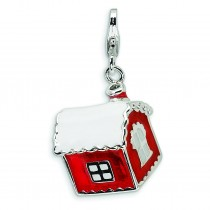 House Snow On Roof Lobster Clasp Charm in Sterling Silver