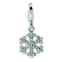 CZ Snowflake Lobster Clasp Charm in Sterling Silver