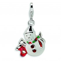 Swarovski Crystal Snowman Lobster Clasp Charm in Sterling Silver
