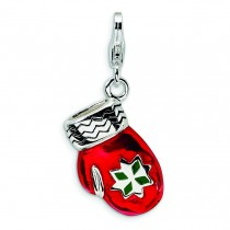 Red Mitten Lobster Clasp Charm in Sterling Silver