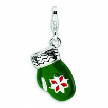 Green Mitten Lobster Clasp Charm in Sterling Silver
