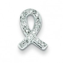 Diamond Awareness Ribbon Pendant in Sterling Silver