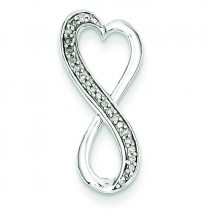 Diamond Freeform Heart Pendant in Sterling Silver