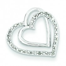 Diamond Double Hearts Pendant in Sterling Silver