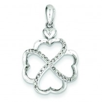 Diamond Hearts Pendant in Sterling Silver