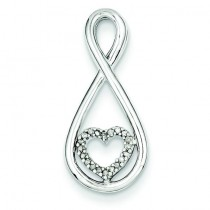 Diamond Heart In Teardrop Pendant in Sterling Silver