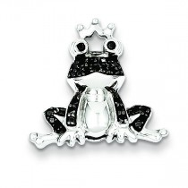 Black Diamond Frog Prince Pendant in Sterling Silver