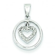 Diamond Heart In Circle Pendant in Sterling Silver