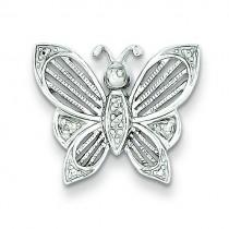 Diamond Butterfly Pendant in Sterling Silver