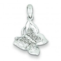 Diamond Butterfly Pendant in Sterling Silver