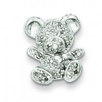 Diamond Teddy Bear Pendant in Sterling Silver