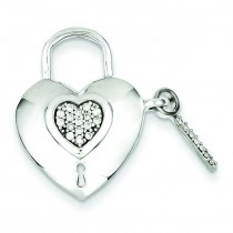 Diamond Heart Lock Key Pendant in Sterling Silver